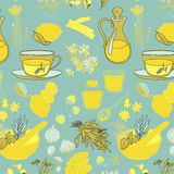 Set of objects and herbs to treat colds. Pattern. Set of objects and herbs to treat colds Royalty Free Stock Images