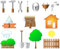 Set of objects for home work. And household Stock Photos
