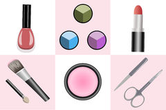 Set of objects for makeup and manicure Stock Images