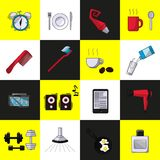 A set of objects on the morning stock illustration