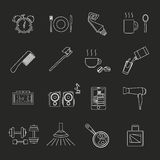 A set of objects on the morning. White contour objects on a black background. Only a stroke. Icons, logos, posters for shops and websites. Vector Illustration Royalty Free Stock Image