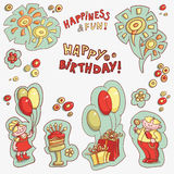 Set of objects for postcards, greetings happy birthday, happiness and fun Stock Photo