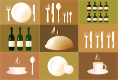 Set of objects for restaurant. Cute set of objects for the restaurant vector illustration