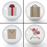 Set of objects for shopping Stock Image