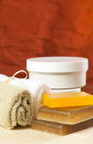Set of Objects for Spa treatments. Set of items for spa treatments, such as soap, towels and moisturizer Royalty Free Stock Image