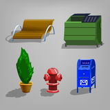 Set of objects street. Vector illustration Stock Photos