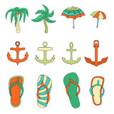 Set of objects summer Royalty Free Stock Images
