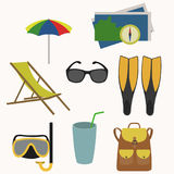 Set of objects for summer holidays. Flat style. vector illustration stock illustration