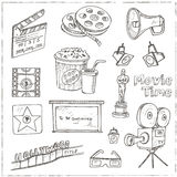 Set of objects and symbols on the cinema theme. Sketches. Hand-drawing. Vector illustration of for design and packages product. Vector Illustration Stock Photos