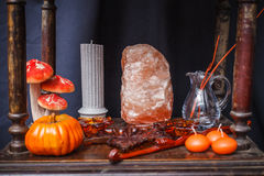 Set of objects to celebrate halloween. A set of objects to celebrate halloween Royalty Free Stock Photo