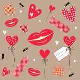 Set of  objects for valentines day.heart, lips, sticker Royalty Free Stock Image