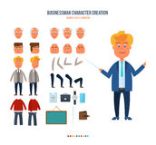 Set objects which you can create character businessman, faces, emotions. Royalty Free Stock Photos