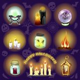 The set of objects for witchcraft and spiritualistic seances on purple background. A poster on the theme of the holiday royalty free illustration