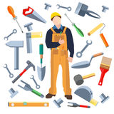Set  objects, worker saw, trowel, hammer Royalty Free Stock Images