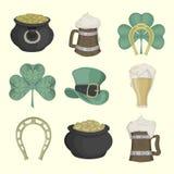Set obrazki dla St Patrick dnia barwiony Obrazy Stock