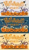 Set obrazki, pocztówki Halloween przyjęcie z kreskówek baniami, nietoperze, czarownica kapelusz, gwiazdy i drzewa, również zwróci royalty ilustracja