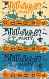 Set obrazki, pocztówki Halloween przyjęcie z kreskówek baniami również zwrócić corel ilustracji wektora ilustracja wektor
