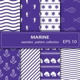 Set obrazy Osiem kawałków obrazy na morskim temacie ilustracji