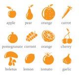 Set Obst- und Gemüse Ikonen stock abbildung