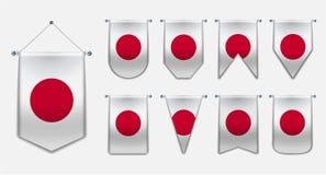 Set obwieszenie flagi JAPONIA z tekstylną teksturą Różnorodność kształty flaga państowowa kraj Pionowo szablon banderka royalty ilustracja