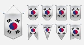 Set obwieszenie flagi korea południowa z tekstylną teksturą Różnorodność kształty flaga państowowa kraj Pionowo szablon ilustracji