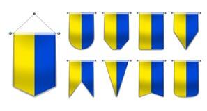 Set obwieszenie flagi UKRAINA z tekstylną teksturą Różnorodność kształty flaga państowowa kraj Pionowo szablon banderka obrazy stock