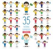 Set 35 obywatelów sporta drużyna wachluje od Amerykańskiej kraju wektoru ilustracji ilustracja wektor