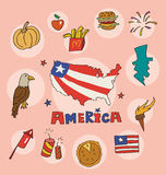 Set obywatela profil America ilustracji