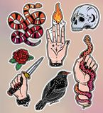 Set of occult witchcraft classic flash patches. Stock Images