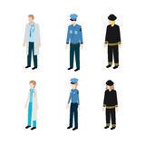 Set occupations police, firefighters and doctors Royalty Free Stock Photography
