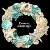 Set of ocean decor wreath on a black background Stock Photo