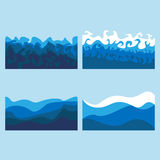 Set of ocean waves. Billows of the sea stock illustration