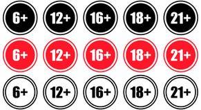 Set oceny starzeją się zawartość limit wieku śpiewa ograniczenie Obrazy Stock