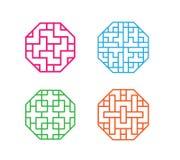 Set of octagon Korean pattern window frame Stock Photos