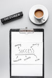 Set for october business strategy on table background top view royalty free stock photo