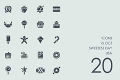 Set of 15 october Sweetest Day USA icons. 15 october Sweetest Day USA vector set of modern simple icons Royalty Free Stock Photos