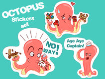 Set of octopus stickers. Stock Image