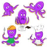 Set of octopuses. Five violet octopuses in different mood and situations Stock Photo
