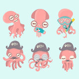 Set of octopuses. Set of octopuses on blue background Stock Images