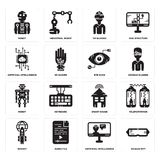 Set of Oculus rift, Artificial intelligence, Rocket, Smart house, Robot, Eye scan, Vr glasses, Robot icons. Set Of 16 simple  icons such as Oculus rift Royalty Free Stock Photo