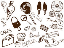 Collection of bakery products. Set od drawn bakery products, sweets, cakes etc Stock Images