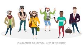 Set od kilka rozmaitości męscy charaktery zdjęcie royalty free