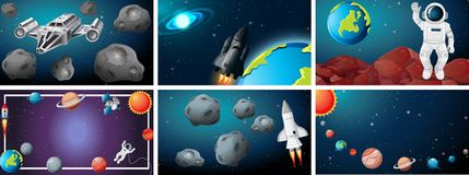 Set od space scene. Illustration stock illustration