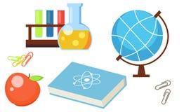 Set od szkolnych przedmiotów Apple, kula ziemska, próbne tubki, książka, nauka, klamerka ilustracji