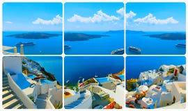 Set od widoków w Oia, Santorini, Grecja Fotografia Stock