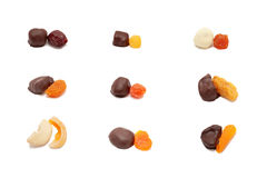 Set od wysuszonego - owoc w czekoladzie. Fotografia Stock