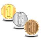 Set od złoto brązowych medali i srebra Obrazy Royalty Free