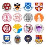 Set odgórni światowi uniwersytetów i instytutów logowie zdjęcia royalty free