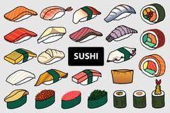 Set 25 odizolowywał kolorowego suszi i rolkę Śliczny japoński jedzenie h royalty ilustracja