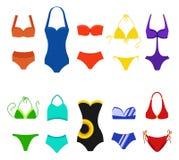 Set odizolowywający na białym tle kobiety swimsuit Bikini kostiumy kąpielowi dla pływać Moda bikini, tankini i royalty ilustracja